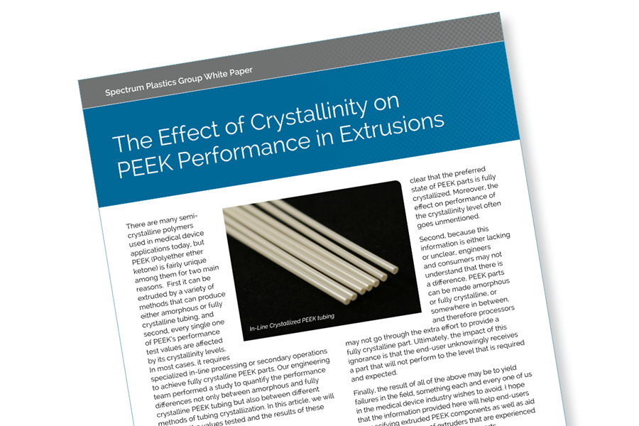 A white paper on the effect of crystallinity on PEEK performance in extrusions